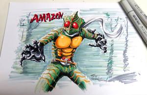Kamen rider amazon with Copic Sketch