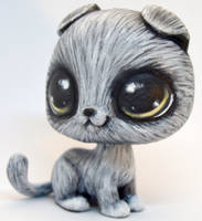 Grey Scottish Fold Cat - OOAK LPS Custom