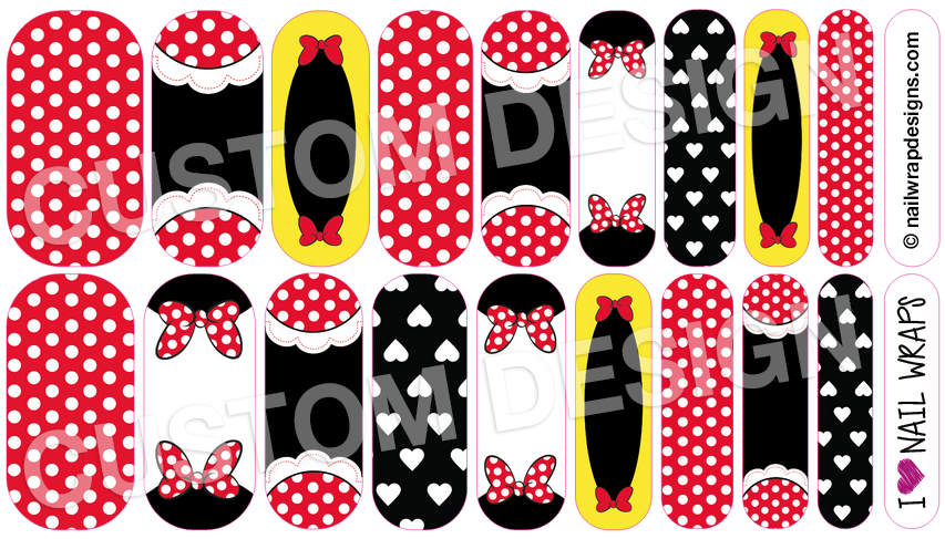 Custom Minnie Mouse Jamberry Nail Wrap Design By Iheartnailwraps On