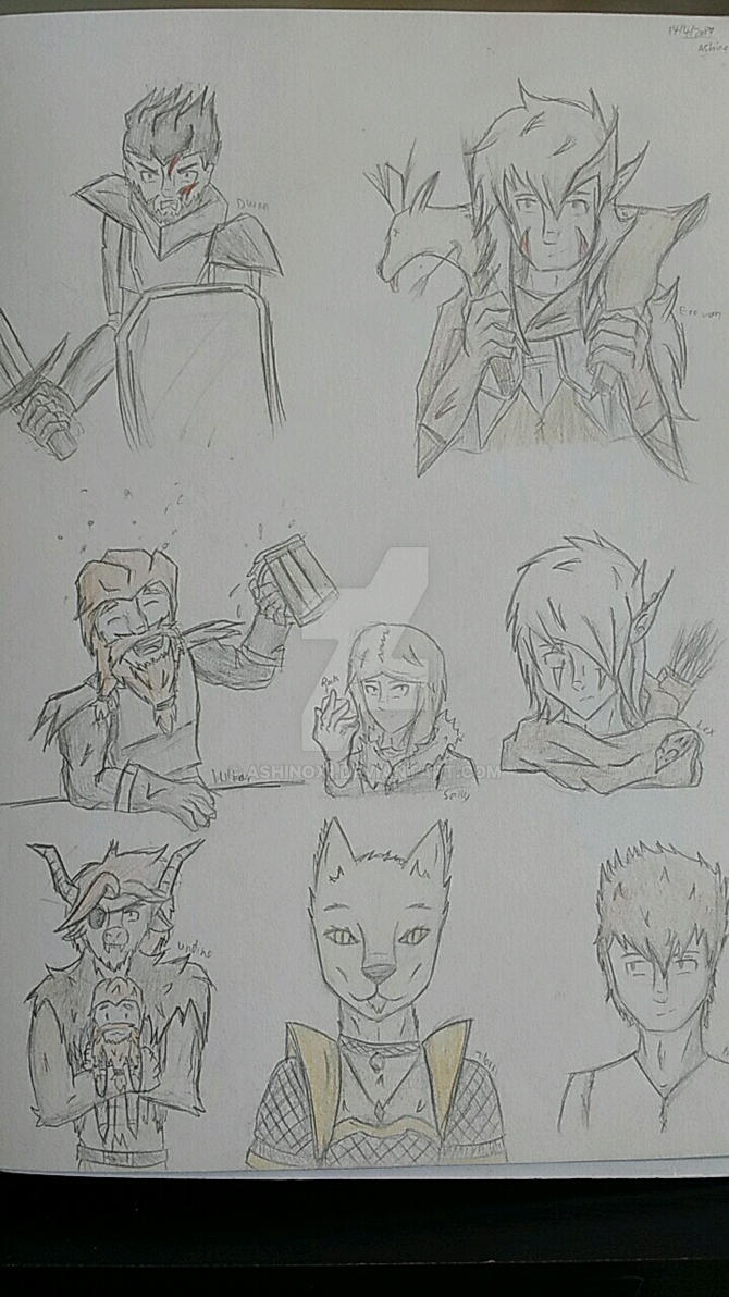 dnd-character sketches by AshinoX1