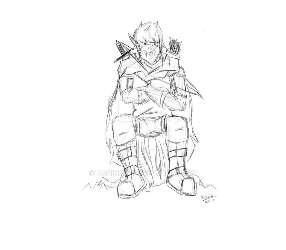 quick sketch- lex sitting dnd by AshinoX1