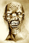 Portrait of an irradiated zombie with a cleft lip