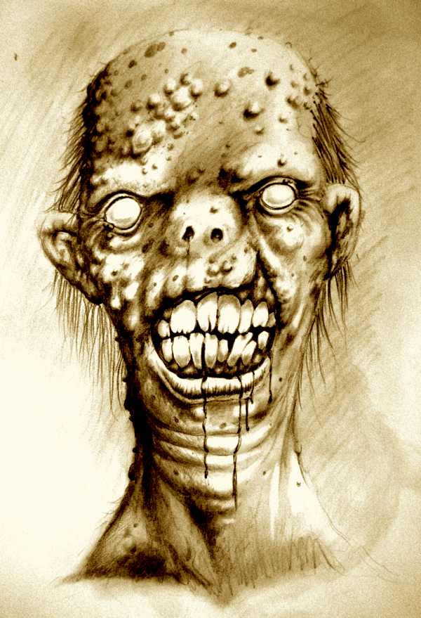 Portrait of an irradiated zombie with a cleft lip by dsilvabarred
