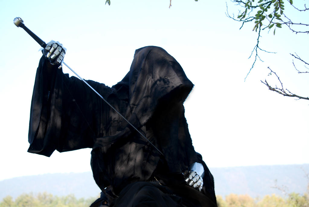 Nazgul on horse closeup - gauntlets and sword by Sindeon