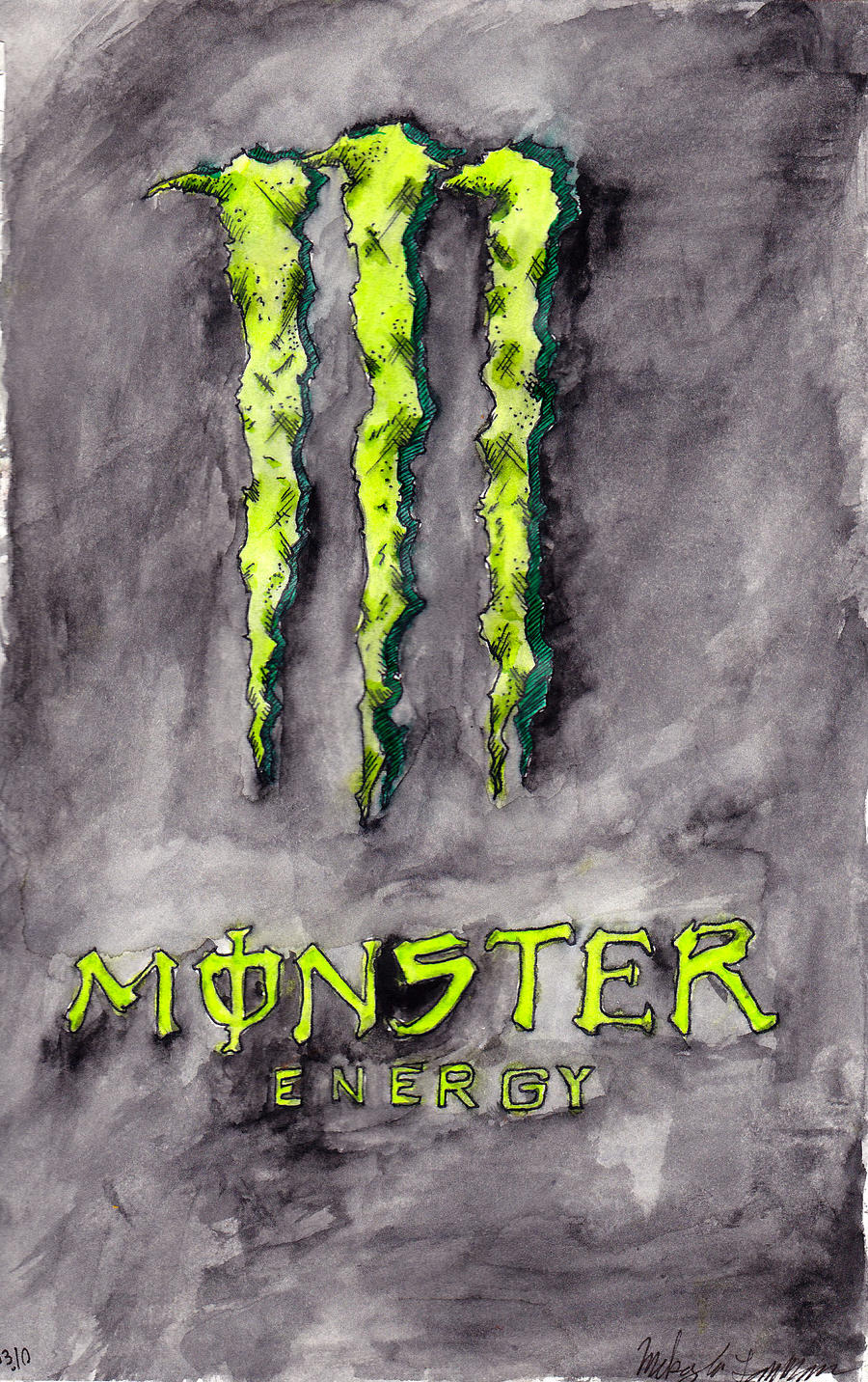 monster energy by ghoulishchan traditional art paintings pop art 2010 ...