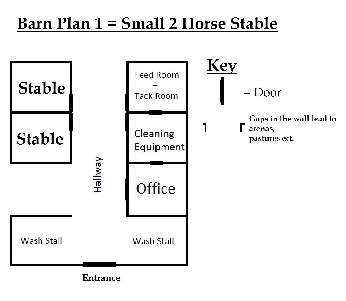 Barn Plan - Small 2 Horse Stable by wolfdemondstar on DeviantArt