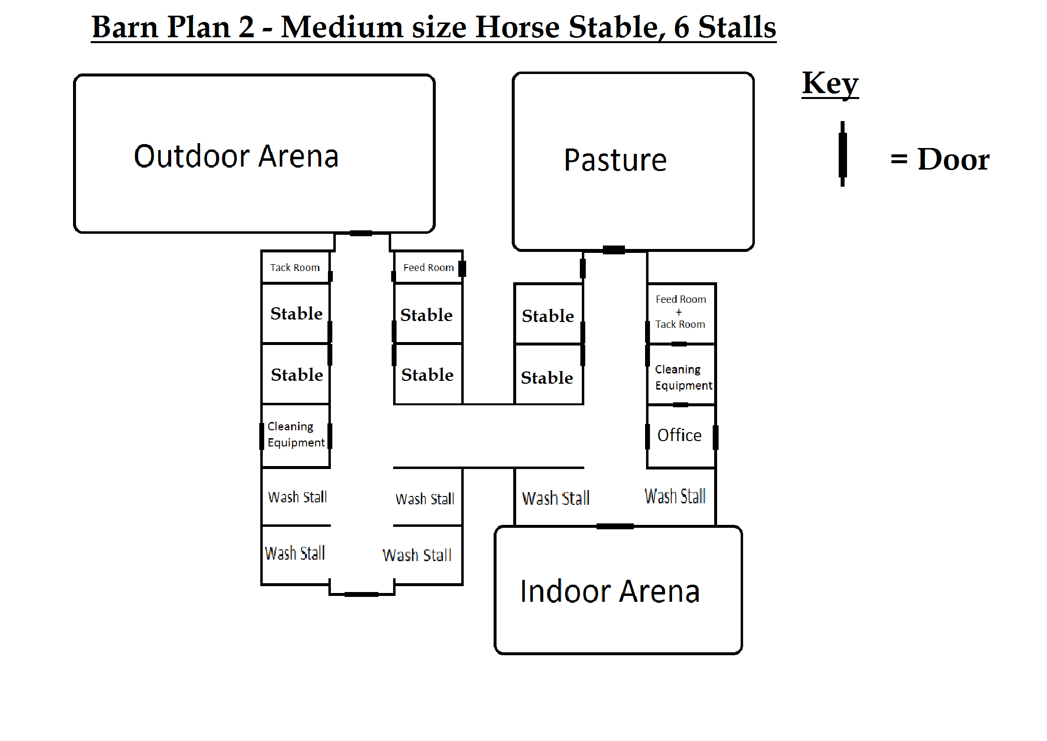 Barn plan 2 medium size horse stable 6 stall 39 s by for 2 stall horse barn plans