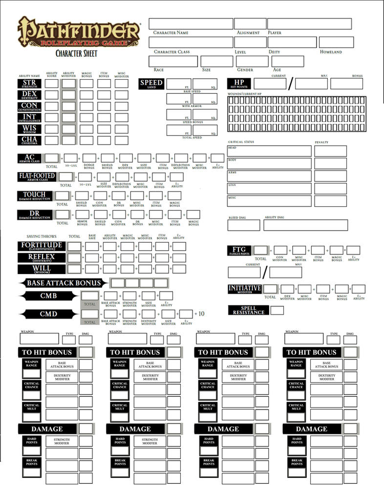 It is a graphic of Lively Printable Pathfinder Character Sheet