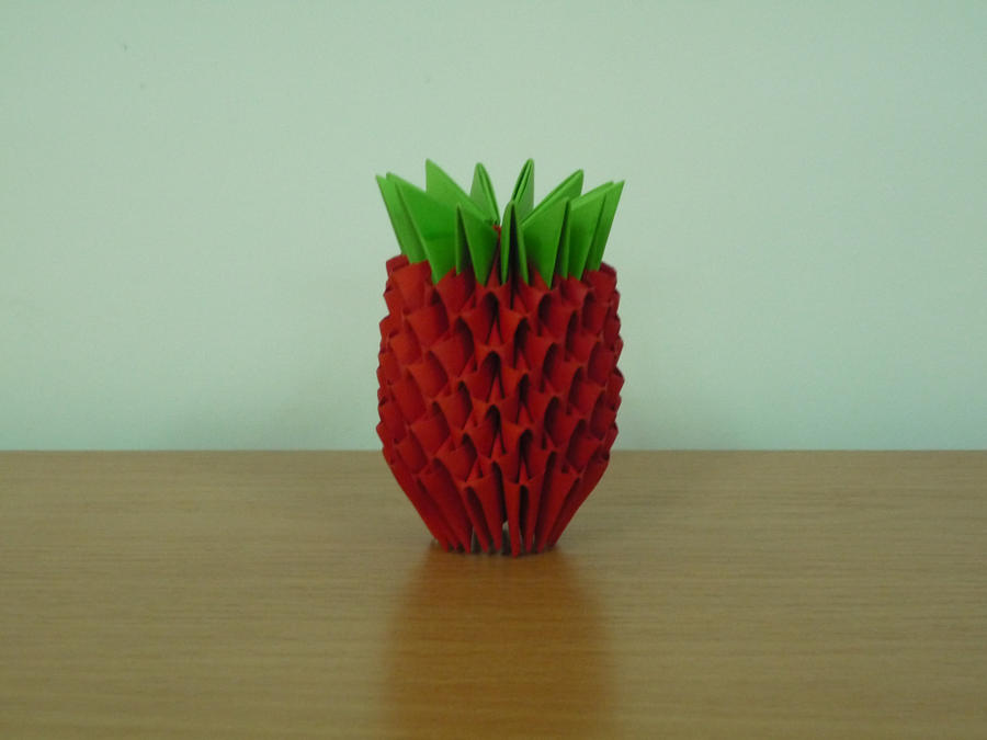 3d Origami Strawberry By Bartlq On Deviantart