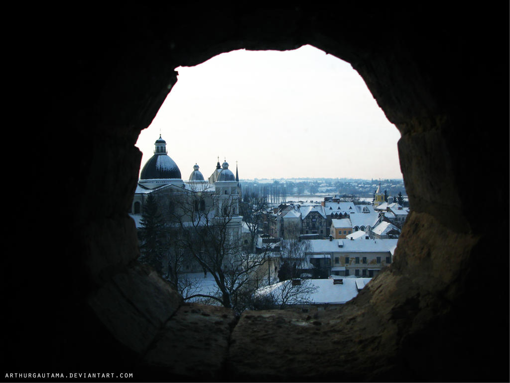 Old town(Lutsk) through the window by ArthurGautama