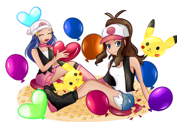 Commission - Dawn and Hilda popping balloons by MyHeartGold