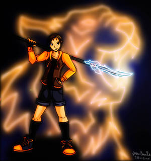 A Girl With Her Tiger lightning Naginata