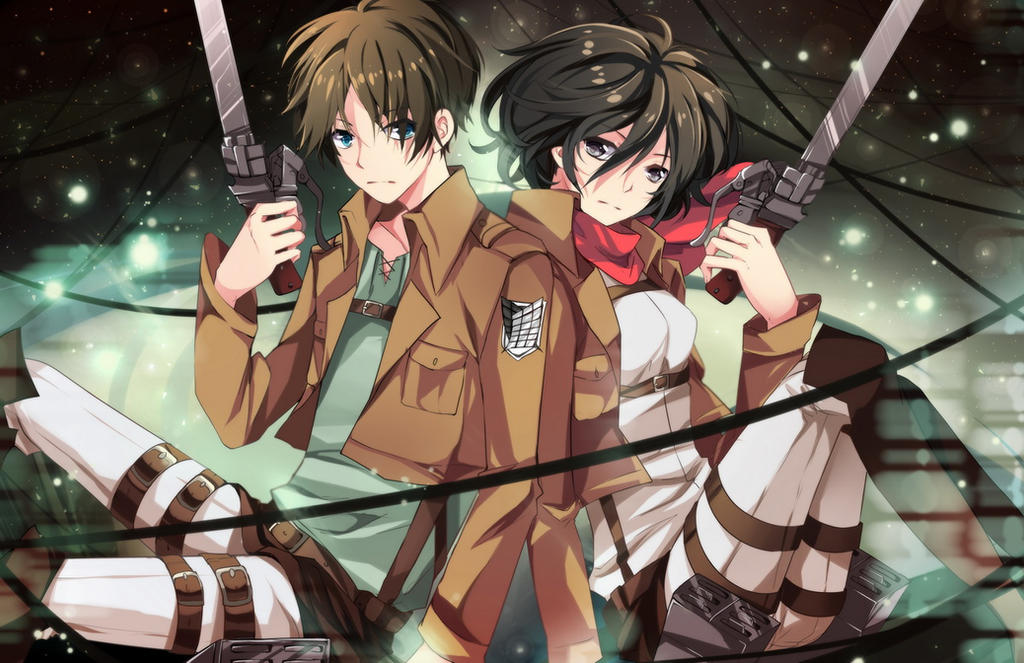 Shingeki no Kyojin - Eren and Mikasa by Squ-chan