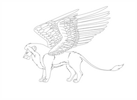 winged lion lineart by Borah