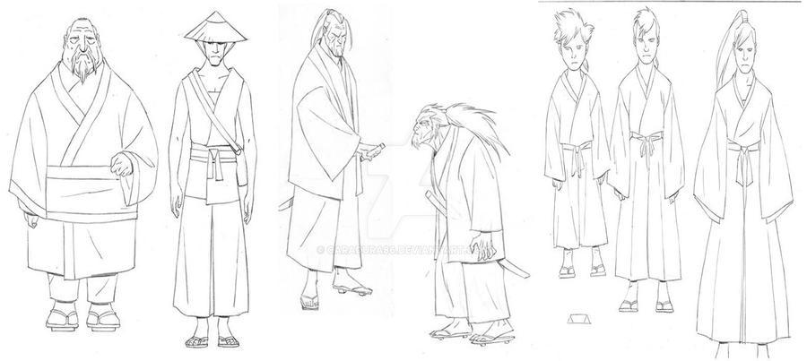 Samurai characters line up by caradura86