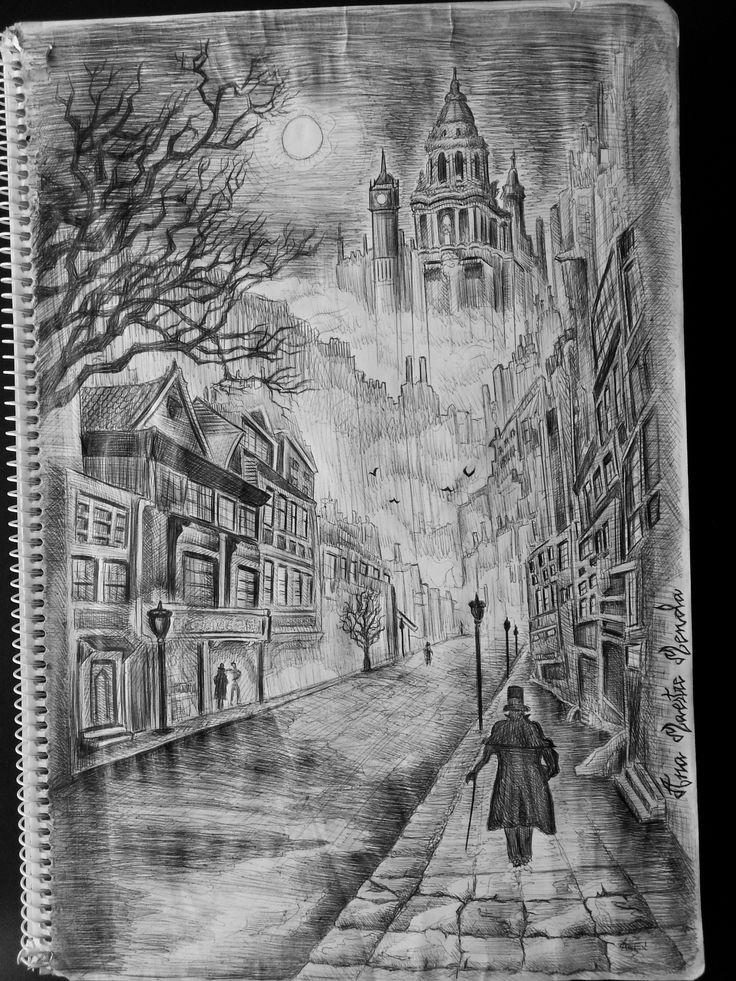 Noche gotica en Londres Luna llena Dibujo by Anamaestre on
