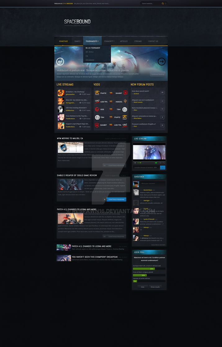 Spacebound Webdesign (League Of Legends) WIP! by rEspaWn16