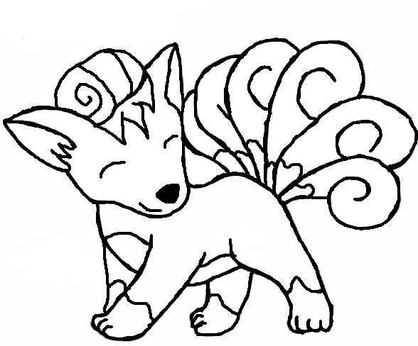 Vulpix outline by luckyclover12 on deviantart for Vulpix coloring pages