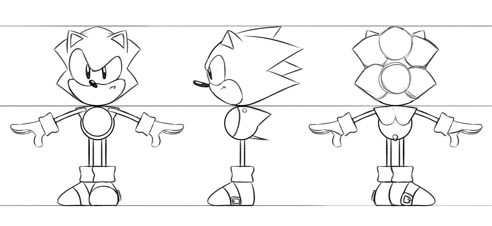 Line Art Rendering Of 3d Models : Toei sonic d model ref sheet by tripplejaz on deviantart