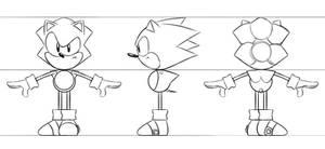 Toei Sonic 3D Model Ref Sheet