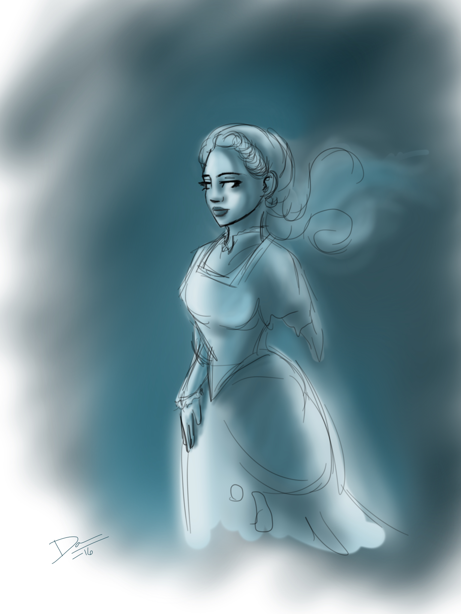 Ghost lady sketch by artofdawn