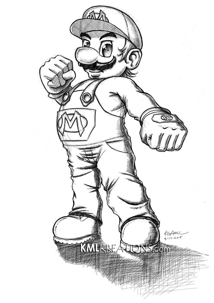 Super Mario Crosshatching Sketch (2015) by kmlkreations