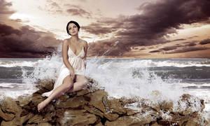 Lady On Rocks by Hossam2