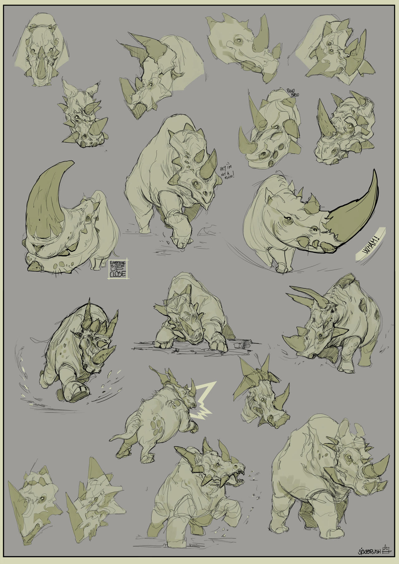 Rhinos! by Sickbrush