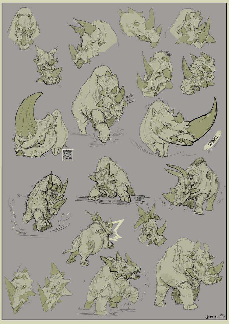 Rhinos! by Sickbrush