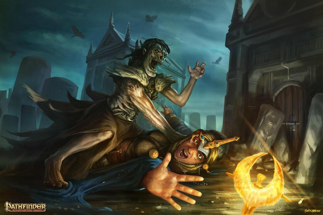 Pathfinder - Cleric vs. zombie by Sickbrush