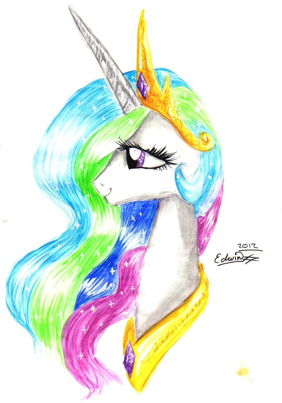 Princess Celestia watercolour by My-Magic-Dream