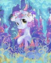 Sweetie Belle dans un jardin de jacinthes des bois by My-Magic-Dream