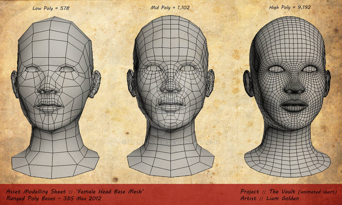 'Female Head Bases' Low, Mid n High Poly