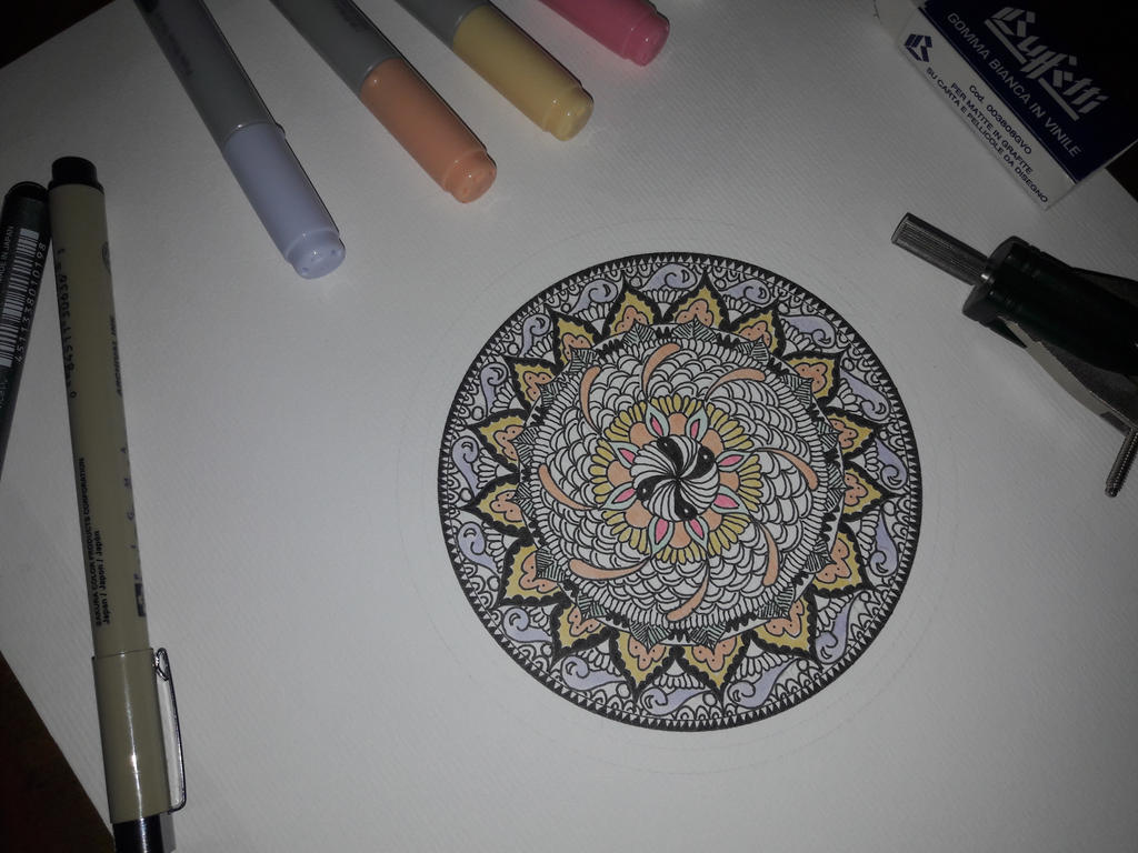 Starting colouring my mandala by Piazdrawings