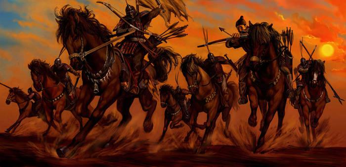 wind, setting sun, warriors