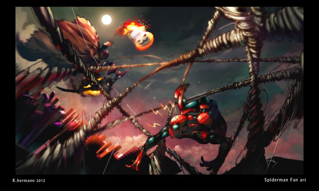 spiderman versus hobgoblin by K-hermann
