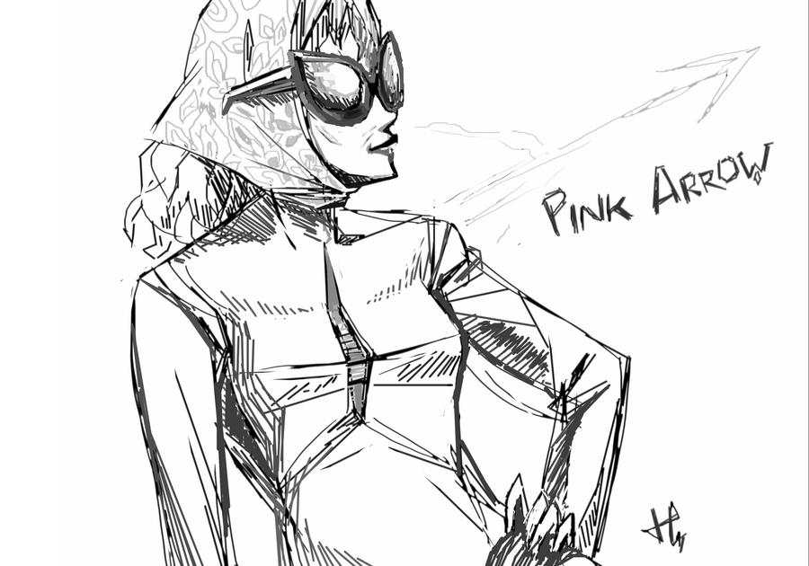 Pink arrow fast sketch by K-hermann