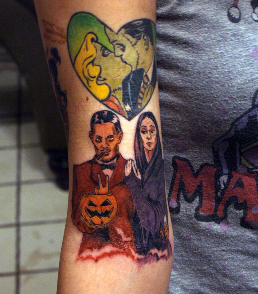 Gomez Morticia Addams Tattoo by LaurenWiles
