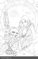 Gamora and Rocket Racoon: Pencils by Dawn-McTeigue