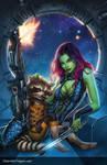 Gamora and Rocket Racoon