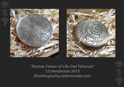 Bronze Flower of life Owl Talisman