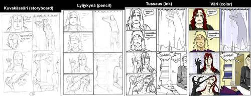 work prosess on cackhand comic by jalmari