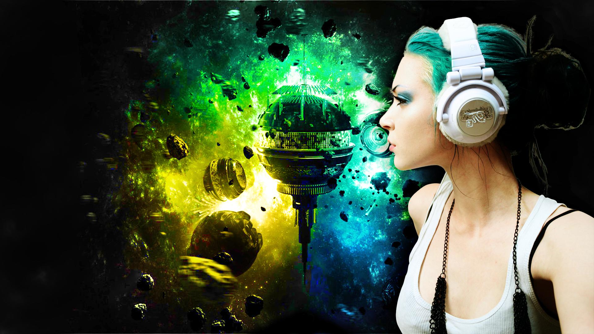Girl headphones by darkludovic