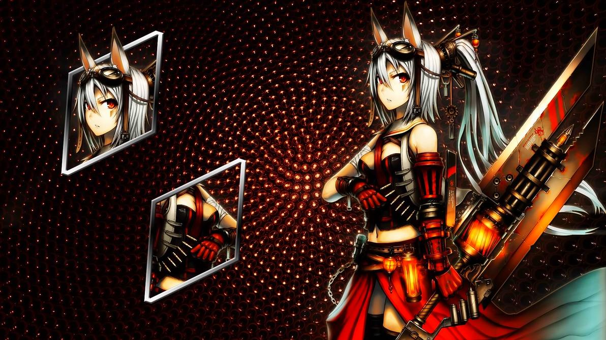 Neko girl sword - Wallpaper by darkludovic