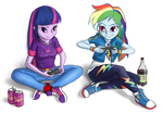 Twilight and Rainbow Dash gaming together