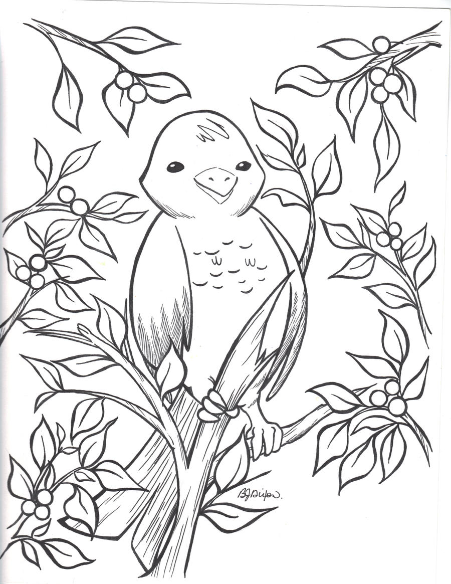 Winter Bird And Holly Bush By Jadzialana