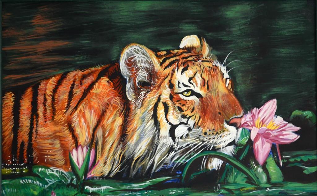 Tiger with lotus by DAVIDAARON616