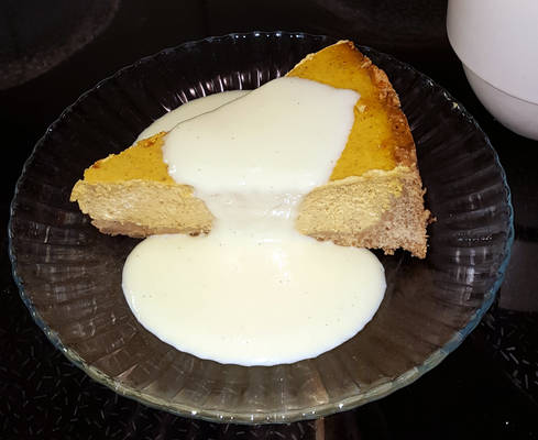 A slice of pumpkincheesepiecake