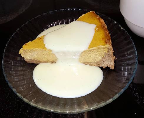 A slice of pumpkincheesepiecake