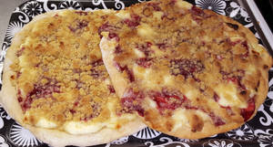 White chocolate-raspberry-cream cheese pizza
